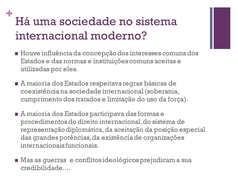 Há uma sociedade no sistema internacional moderno