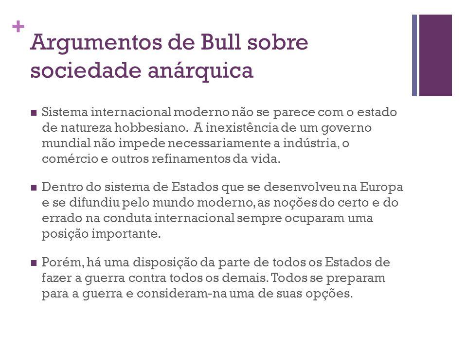 Argumentos de Bull sobre sociedade anárquica