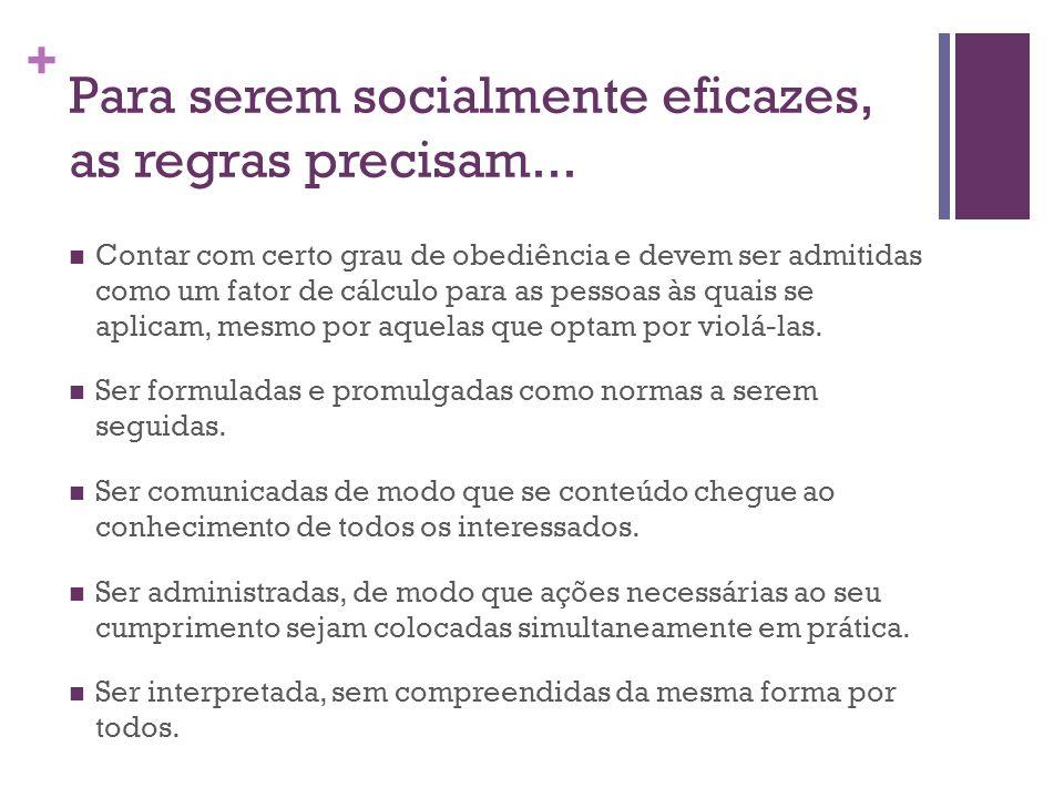 Para serem socialmente eficazes, as regras precisam...