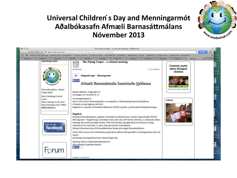 Universal Children ́s Day and Menningarmót Aðalbókasafn Afmæli Barnasáttmálans Nóvember 2013
