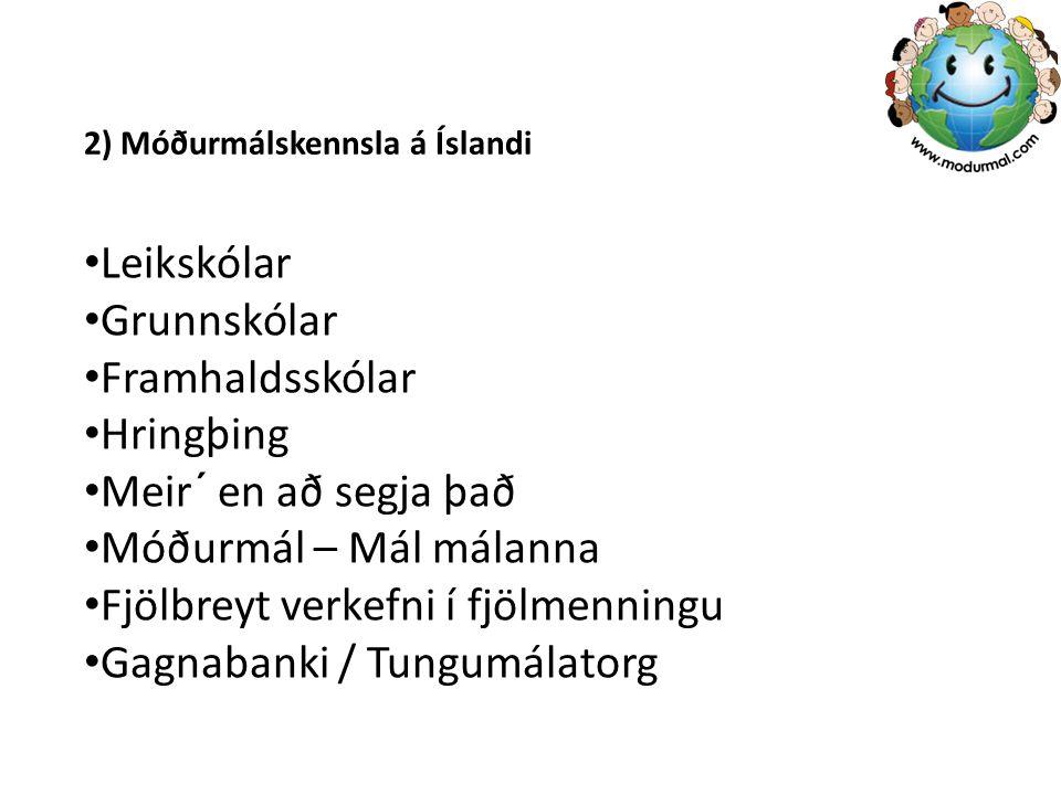 2) Móðurmálskennsla á Íslandi