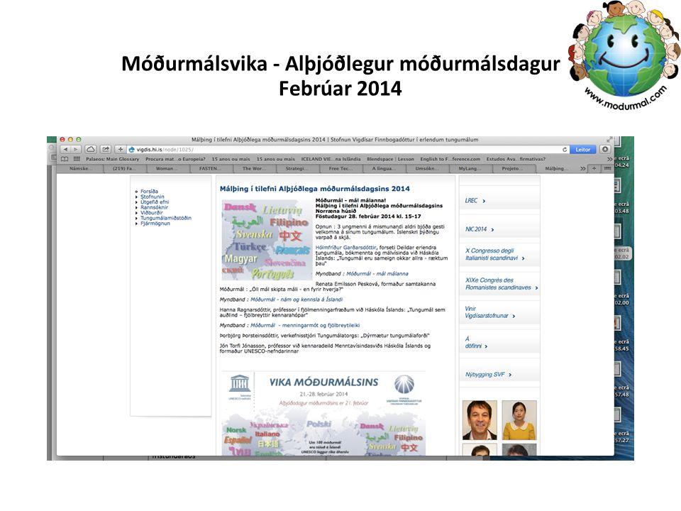 Móðurmálsvika - Alþjóðlegur móðurmálsdagur Febrúar 2014