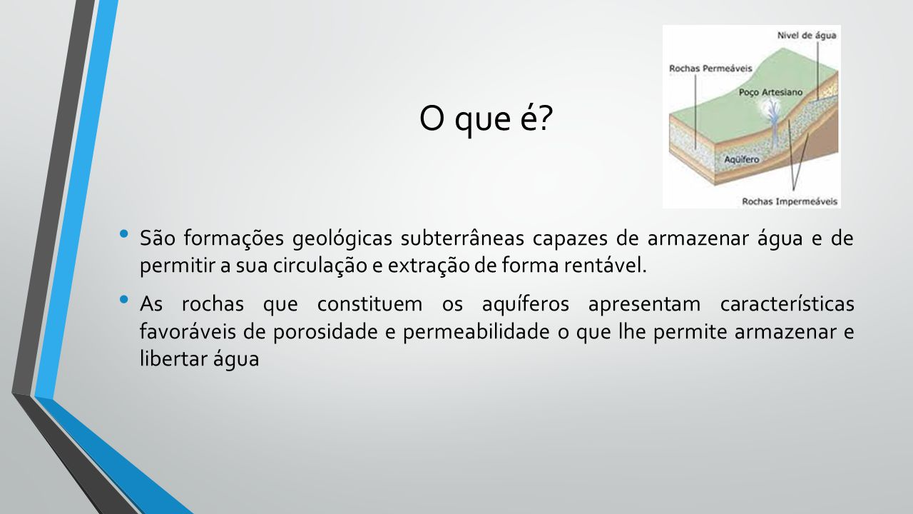 O que é São formações geológicas subterrâneas capazes de armazenar água e de permitir a sua circulação e extração de forma rentável.