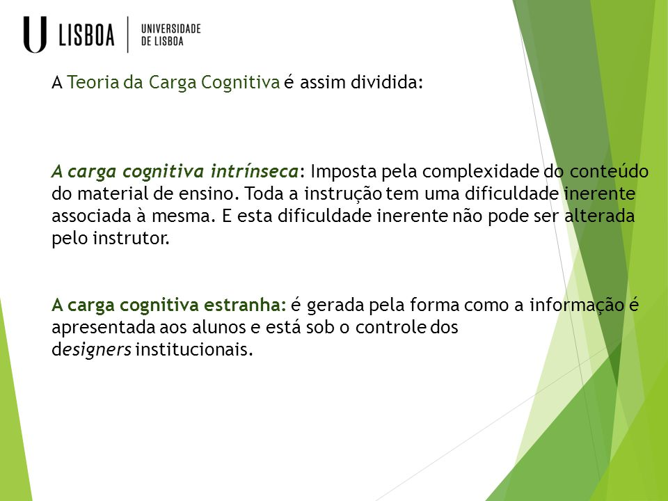 A Teoria da Carga Cognitiva é assim dividida: A carga cognitiva intrínseca: Imposta pela complexidade do conteúdo do material de ensino.