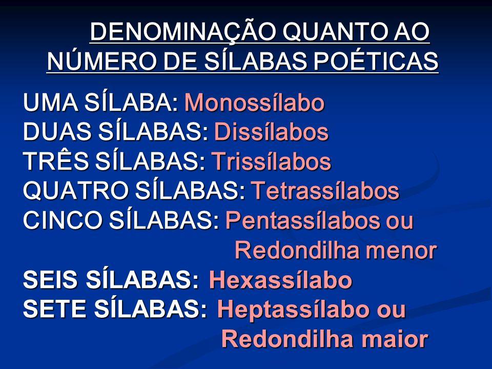 DENOMINAÇÃO QUANTO AO NÚMERO DE SÍLABAS POÉTICAS