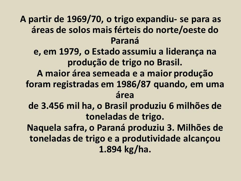 A partir de 1969/70, o trigo expandiu- se para as áreas de solos mais férteis do norte/oeste do Paraná e, em 1979, o Estado assumiu a liderança na produção de trigo no Brasil.