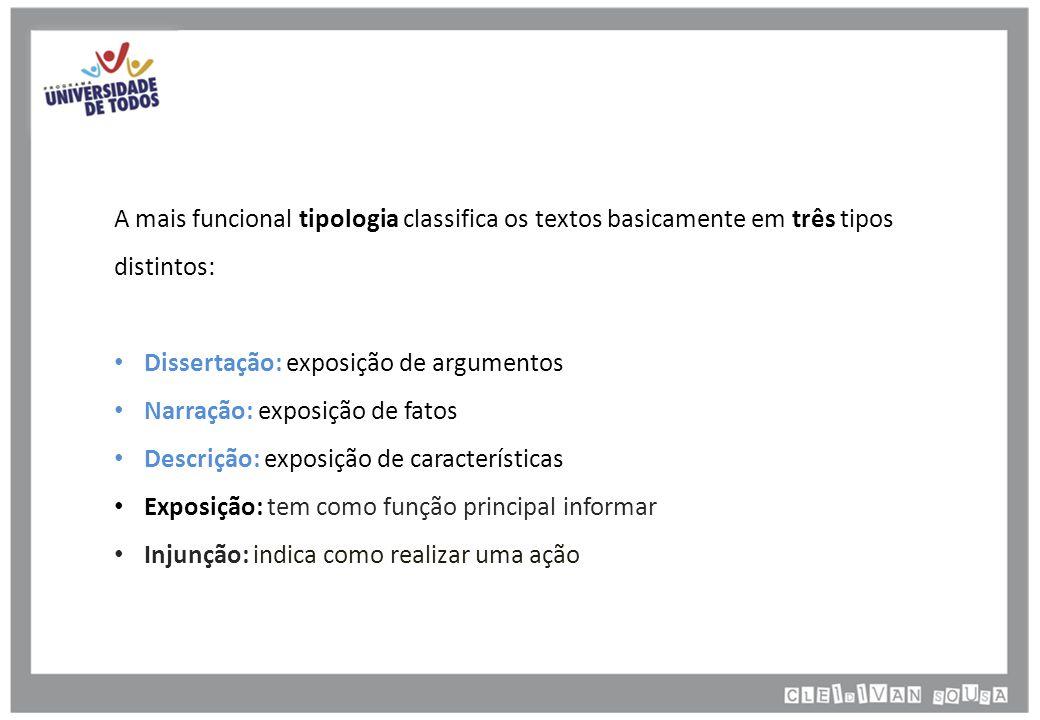 A mais funcional tipologia classifica os textos basicamente em três tipos distintos: