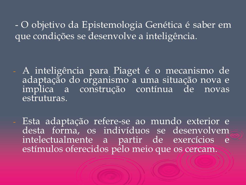 - O objetivo da Epistemologia Genética é saber em que condições se desenvolve a inteligência.