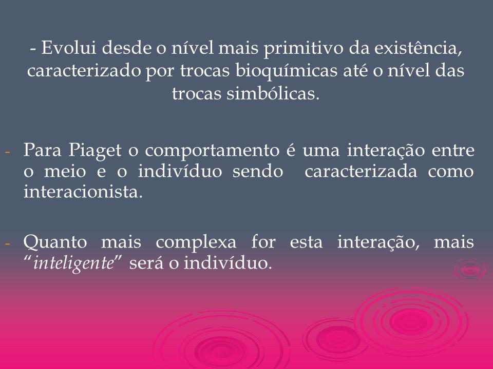 - Evolui desde o nível mais primitivo da existência, caracterizado por trocas bioquímicas até o nível das trocas simbólicas.
