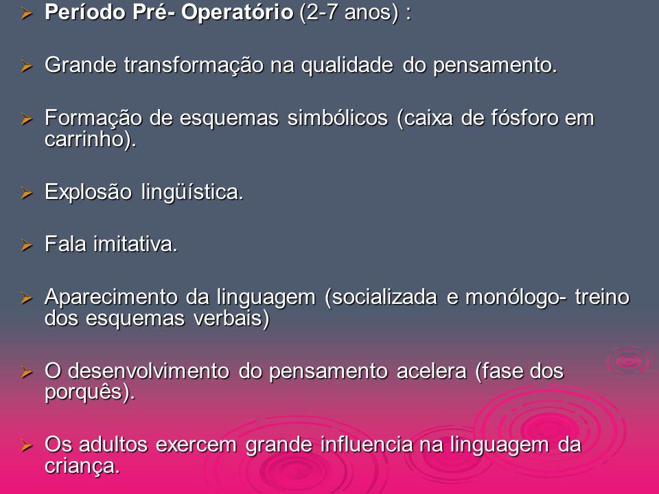 Período Pré- Operatório (2-7 anos) :