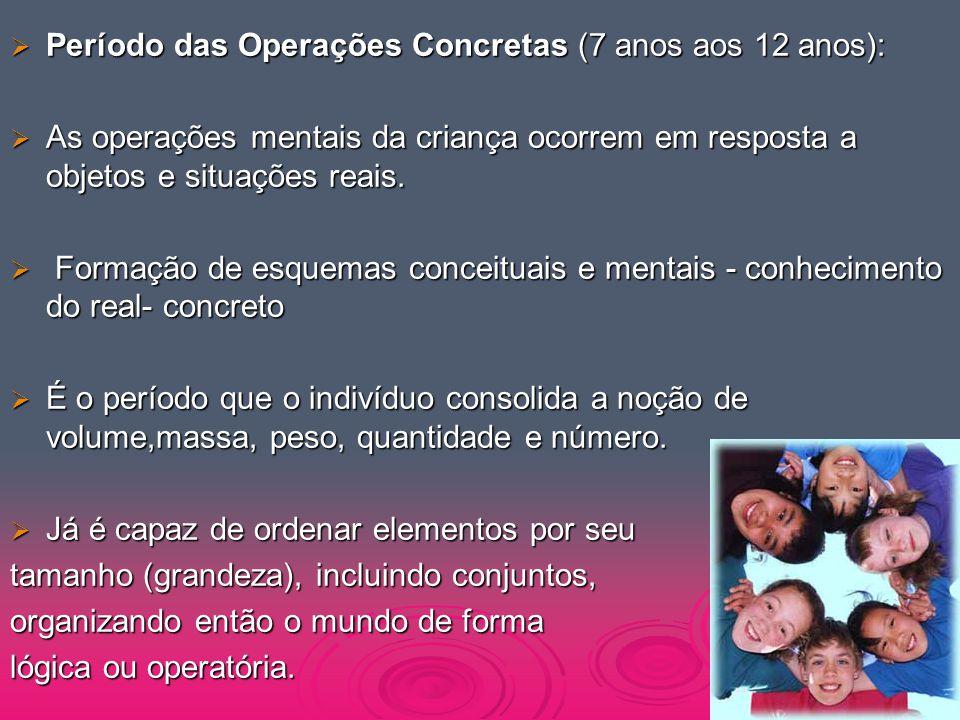 Período das Operações Concretas (7 anos aos 12 anos):