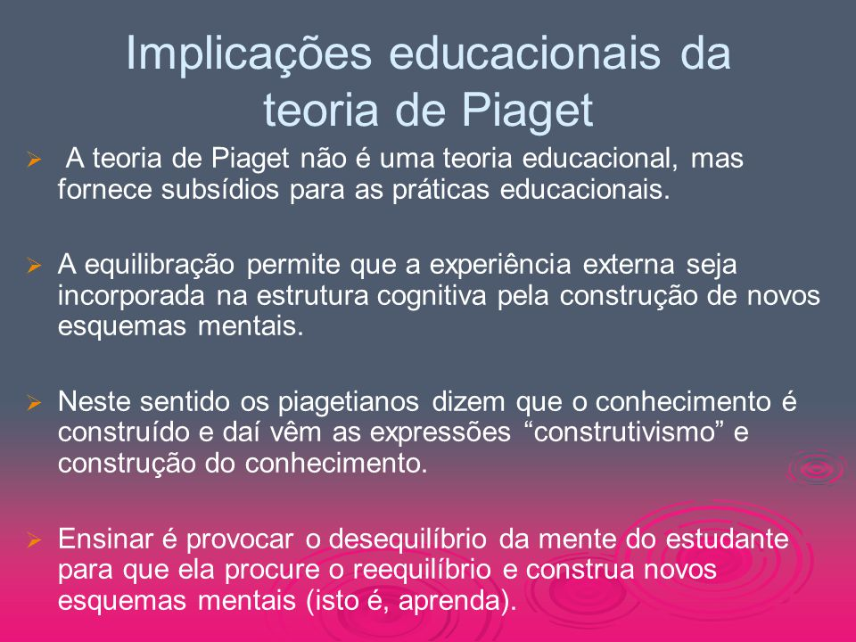 Implicações educacionais da teoria de Piaget
