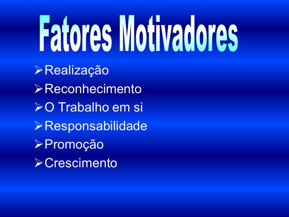Fatores Motivadores Realização Reconhecimento O Trabalho em si