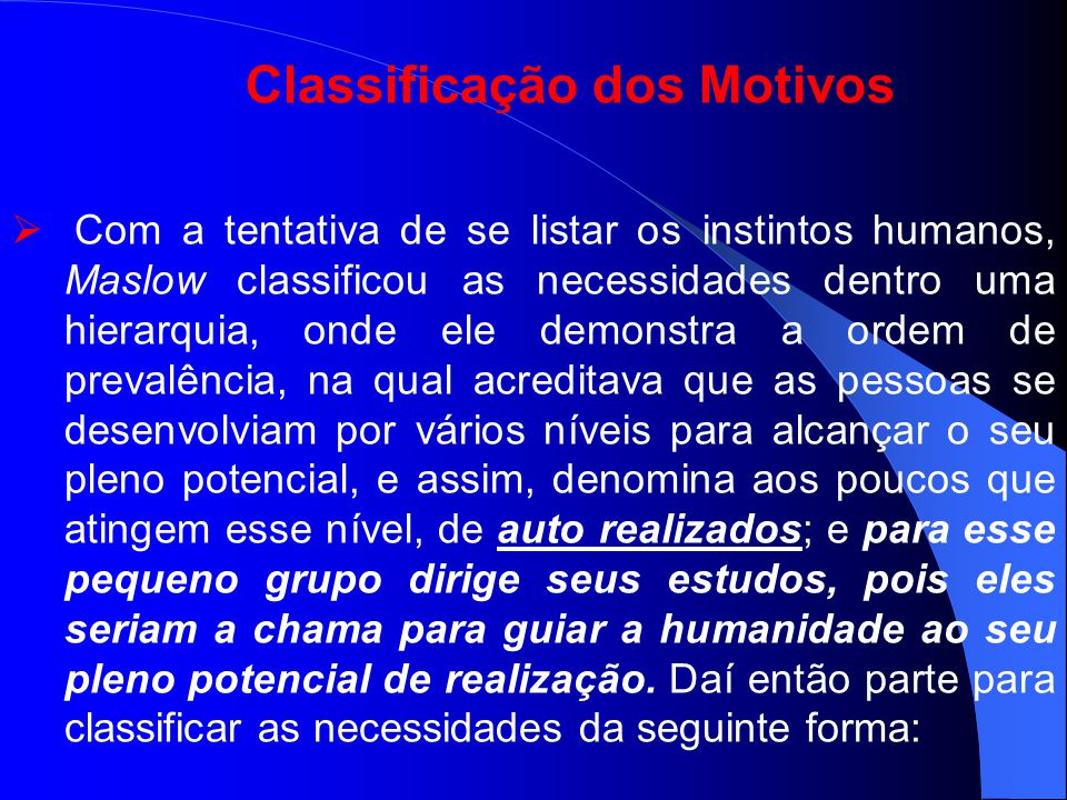 Classificação dos Motivos
