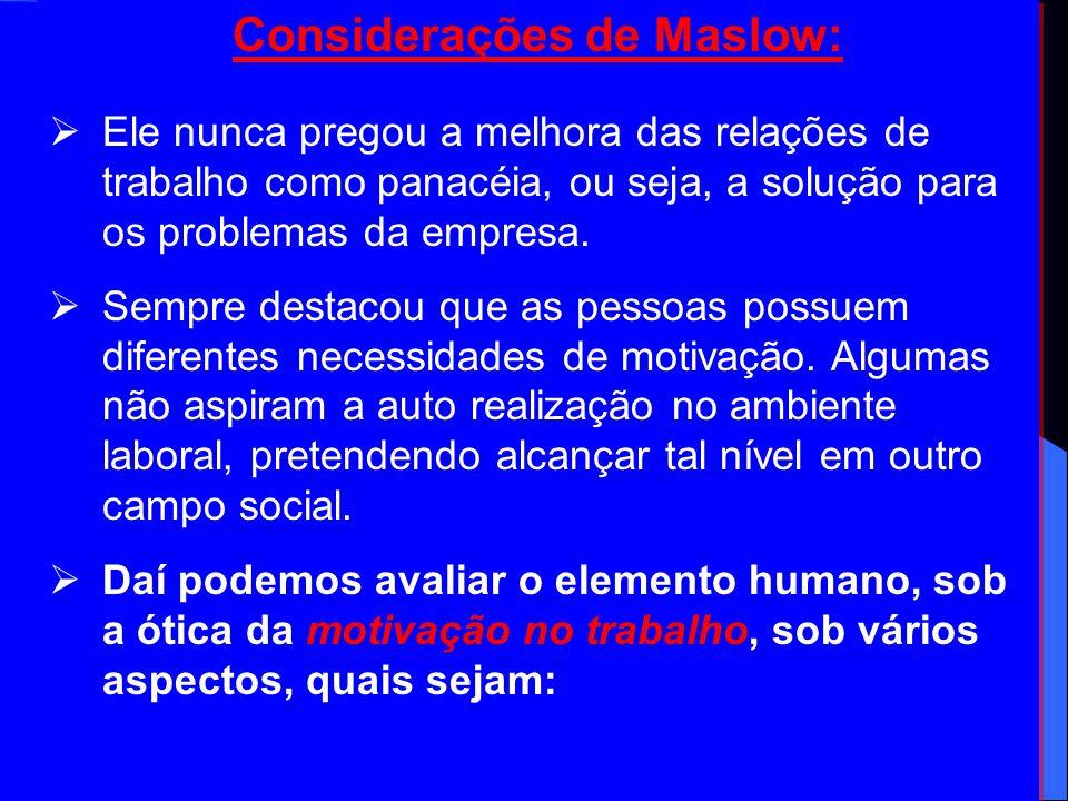 Considerações de Maslow: