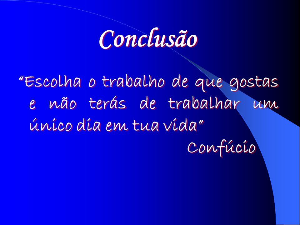 Conclusão Escolha o trabalho de que gostas e não terás de trabalhar um único dia em tua vida Confúcio.