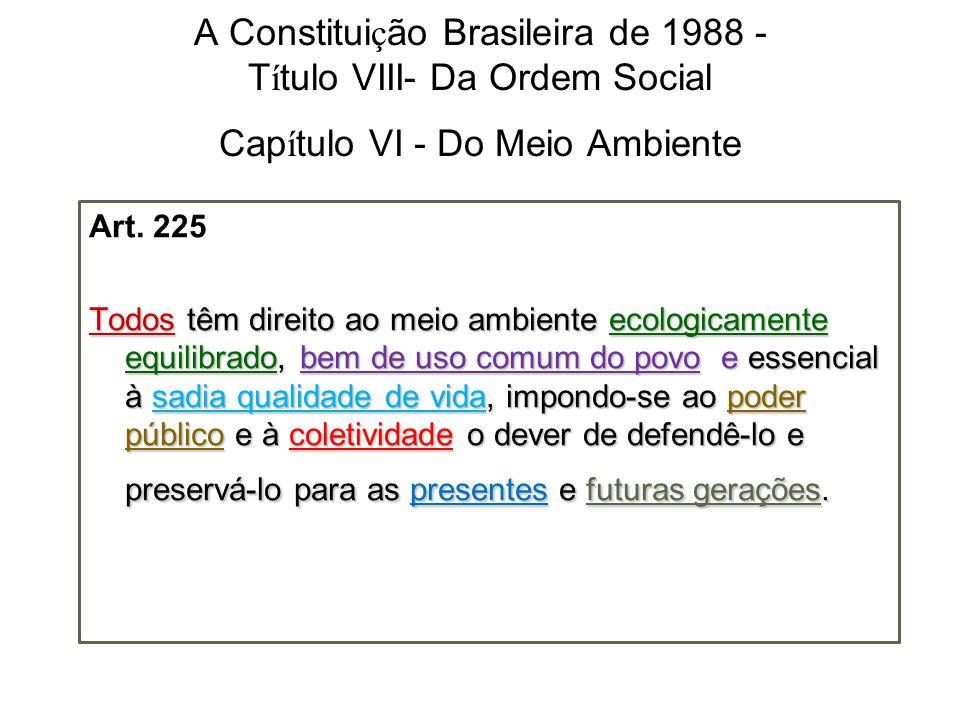 A Constituição Brasileira de 1988 - Título VIII- Da Ordem Social Capítulo VI - Do Meio Ambiente