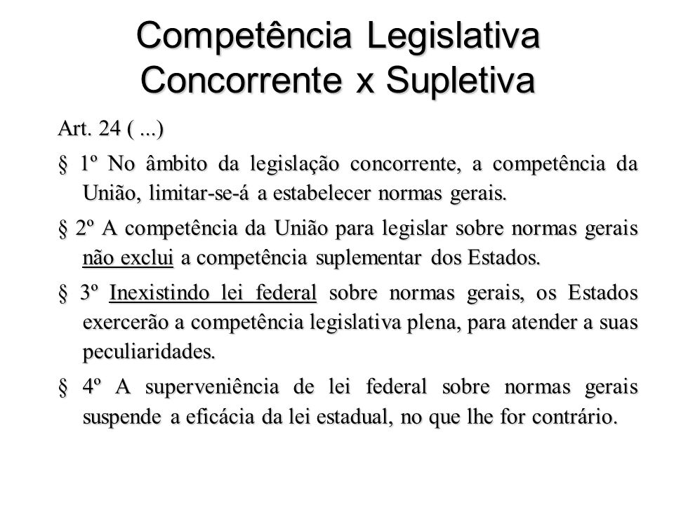 Competência Legislativa Concorrente x Supletiva