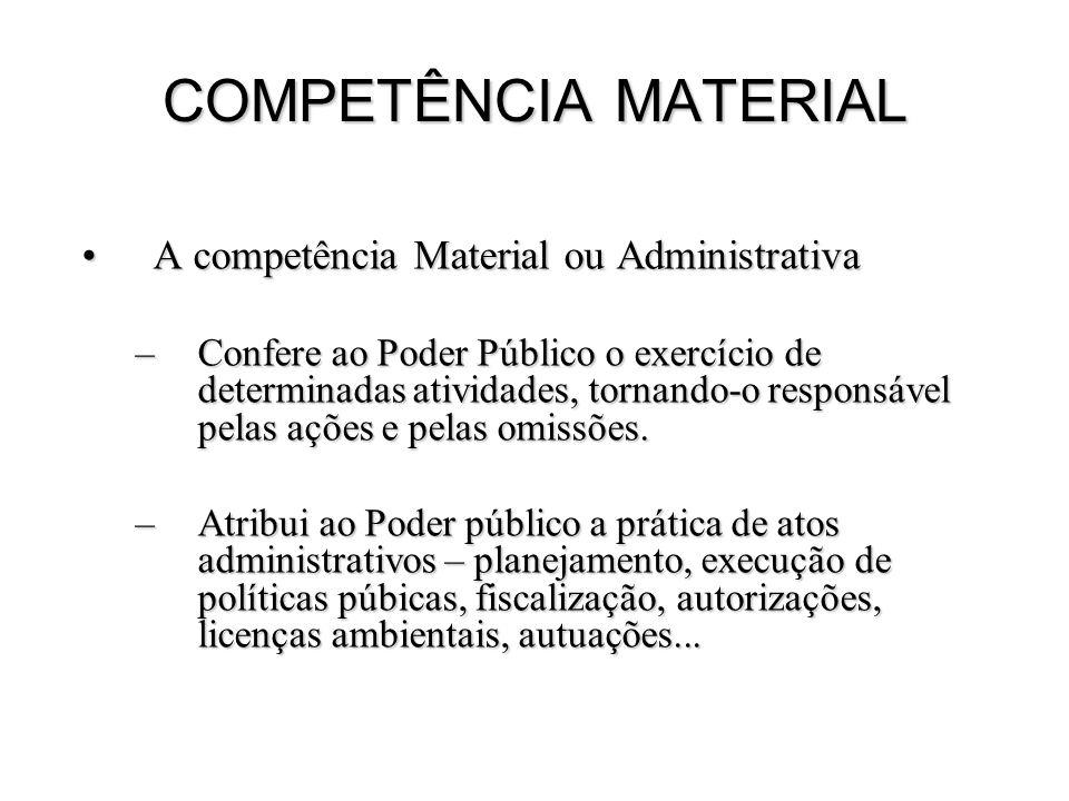 COMPETÊNCIA MATERIAL A competência Material ou Administrativa