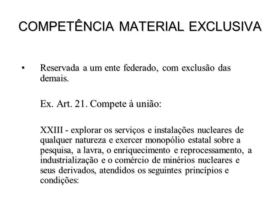COMPETÊNCIA MATERIAL EXCLUSIVA