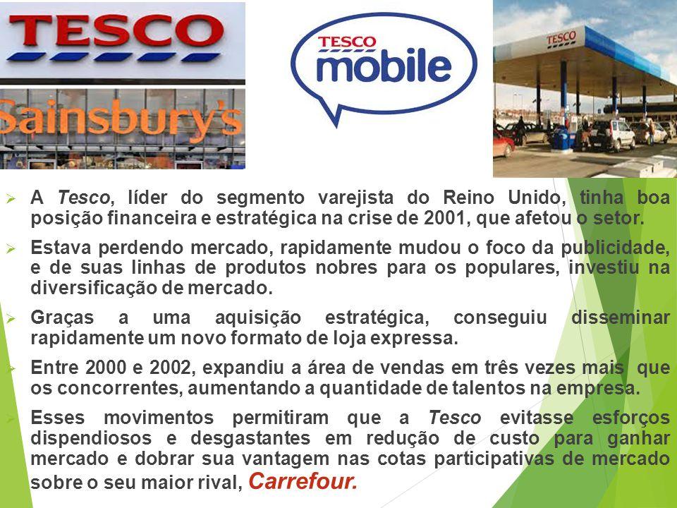 A Tesco, líder do segmento varejista do Reino Unido, tinha boa posição financeira e estratégica na crise de 2001, que afetou o setor.