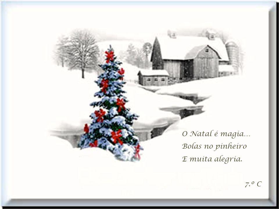 O Natal é magia… Bolas no pinheiro E muita alegria. 7.º C