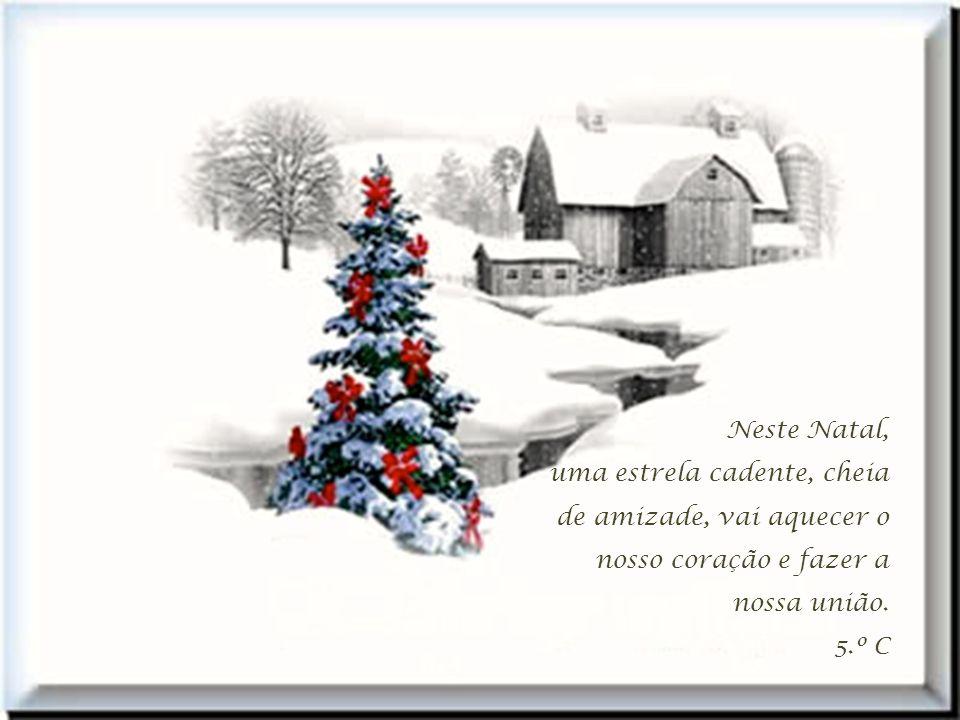 Neste Natal, uma estrela cadente, cheia de amizade, vai aquecer o nosso coração e fazer a nossa união.