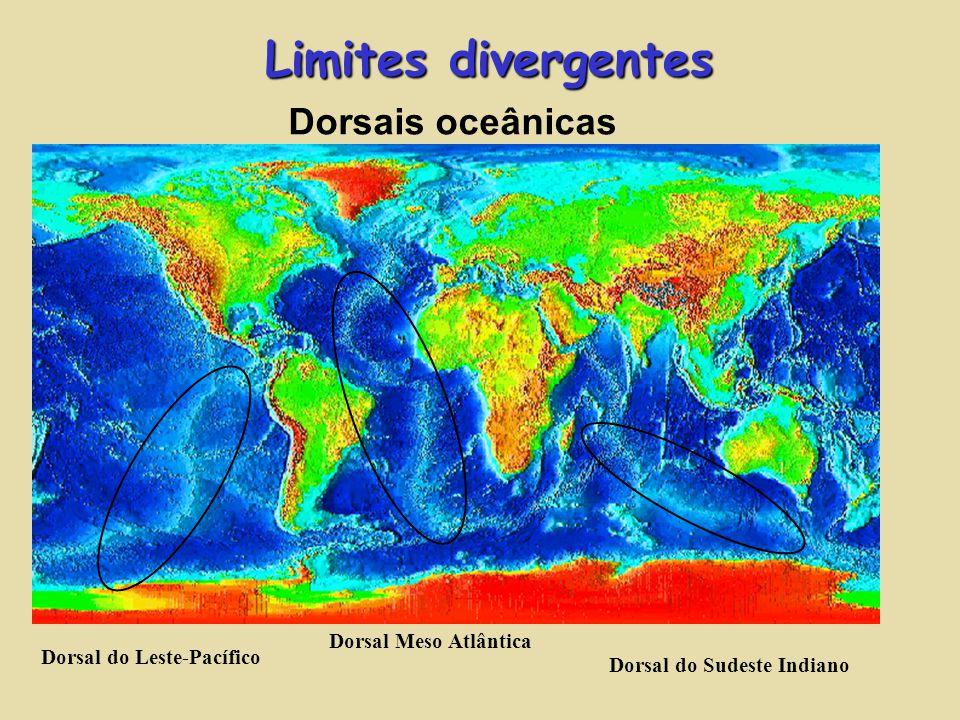 Limites divergentes Dorsais oceânicas Dorsal Meso Atlântica