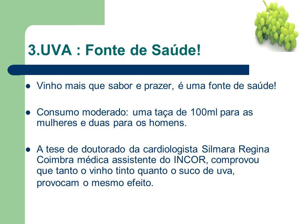 3.UVA : Fonte de Saúde! Vinho mais que sabor e prazer, é uma fonte de saúde!