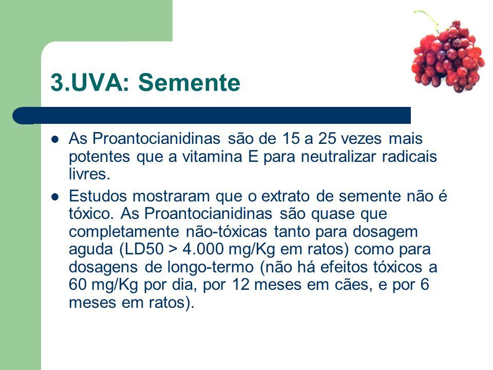 3.UVA: Semente As Proantocianidinas são de 15 a 25 vezes mais potentes que a vitamina E para neutralizar radicais livres.