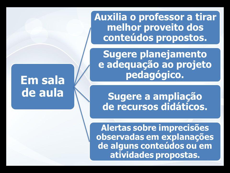 Auxilia o professor a tirar melhor proveito dos conteúdos propostos.