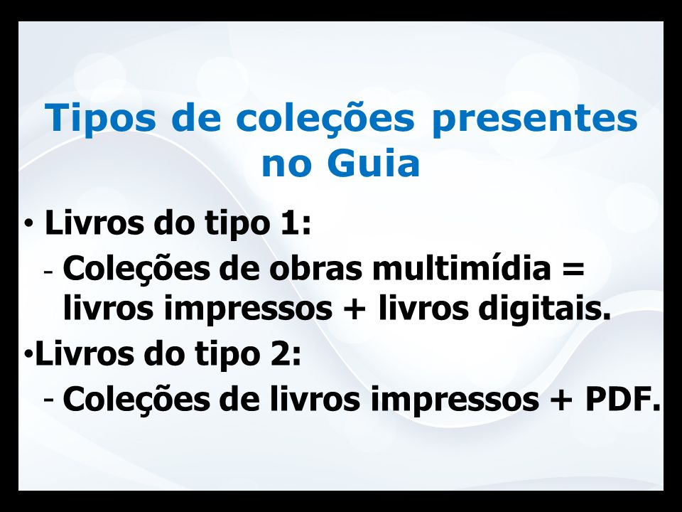 Tipos de coleções presentes no Guia