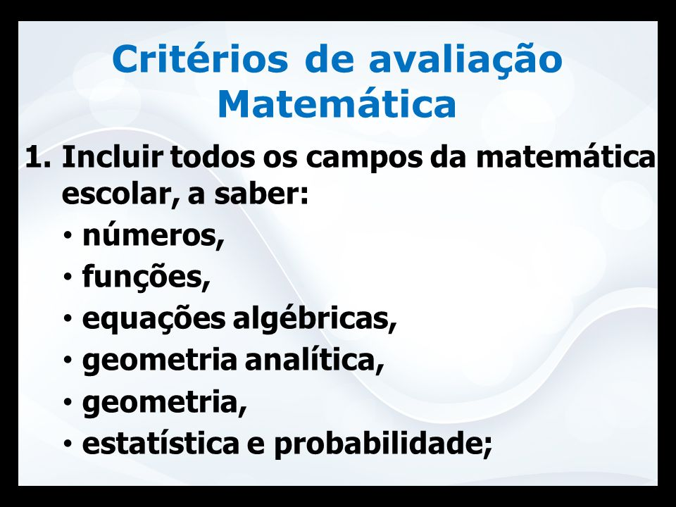 Critérios de avaliação Matemática