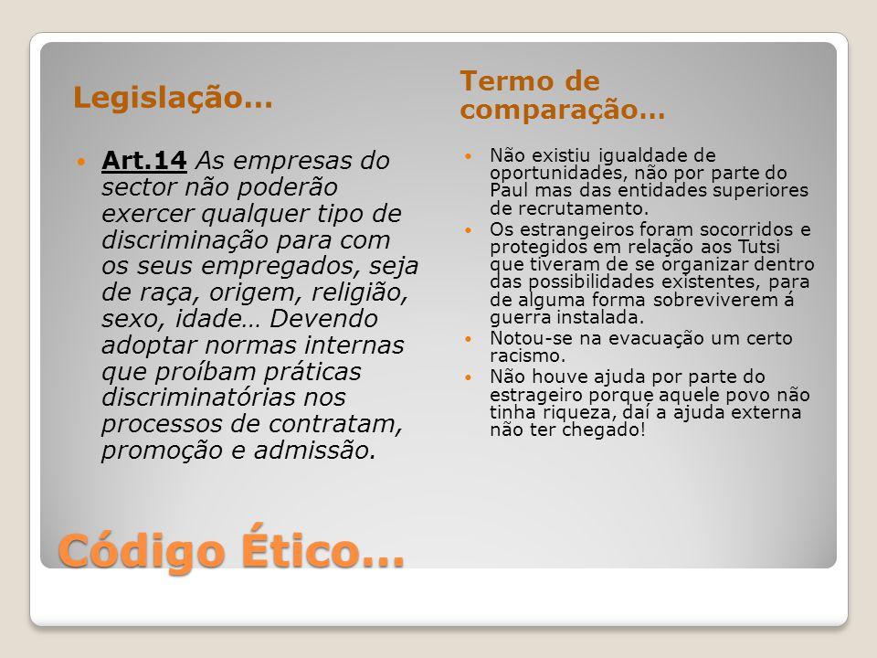 Código Ético… Legislação… Termo de comparação…