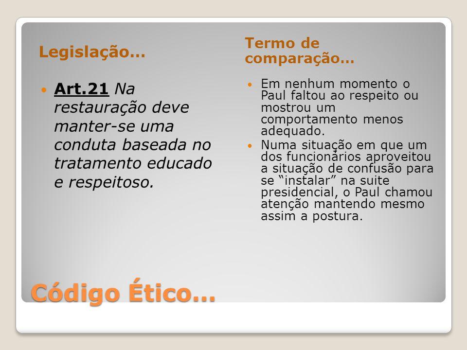 Código Ético… Legislação…