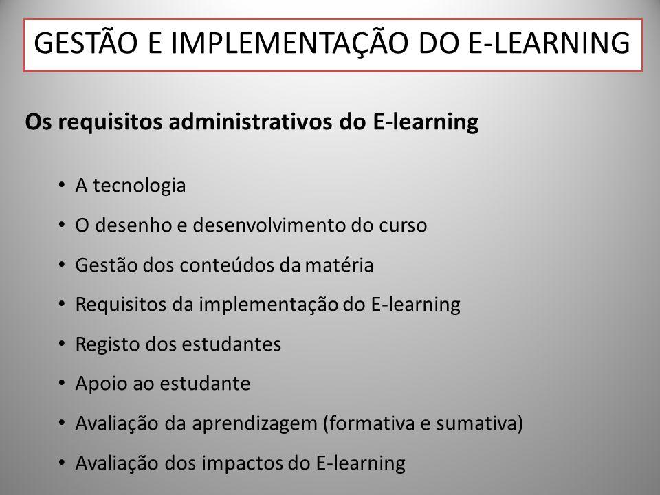 Gestão e Implementação do E-learning