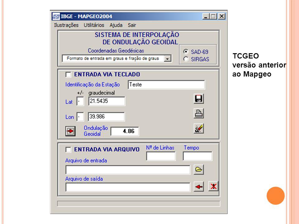 TCGEO versão anterior ao Mapgeo