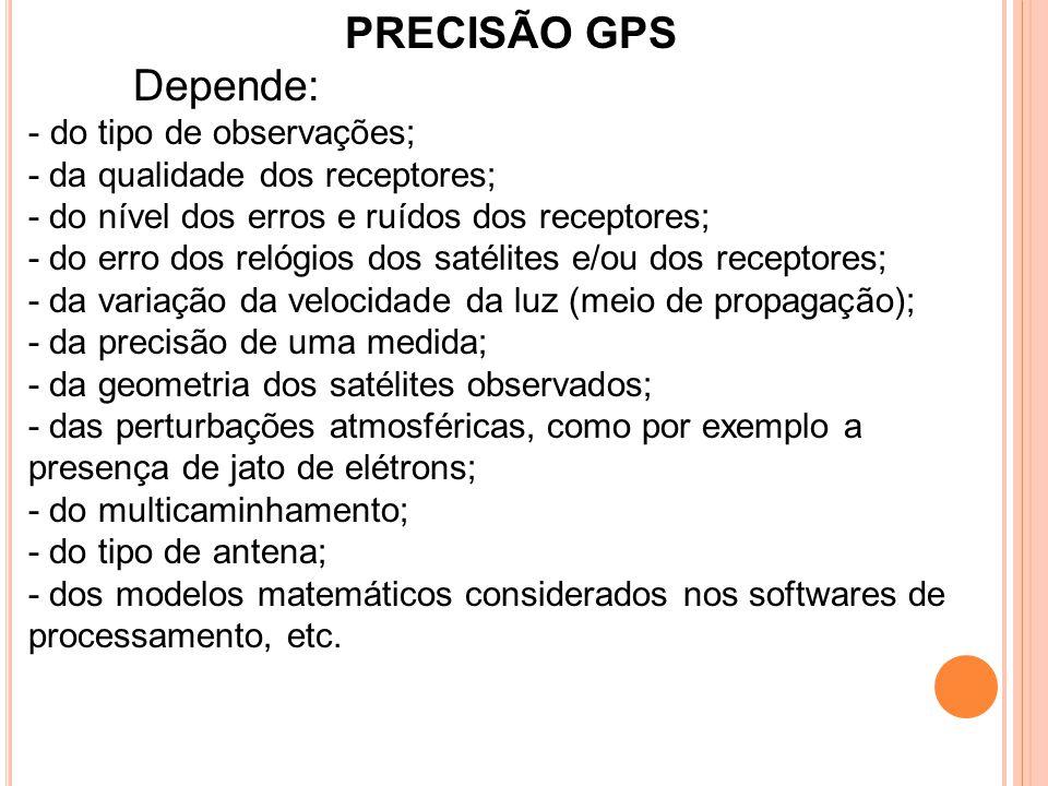 PRECISÃO GPS Depende: do tipo de observações;