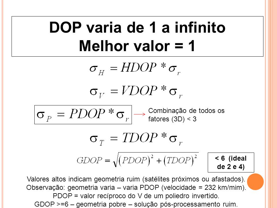 DOP varia de 1 a infinito Melhor valor = 1