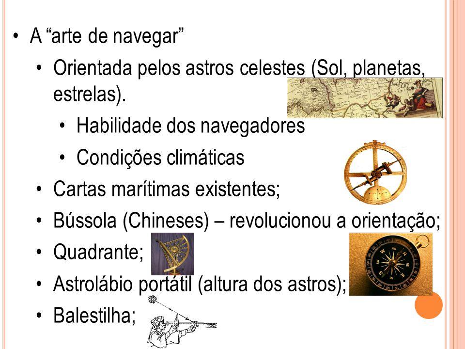 A arte de navegar Orientada pelos astros celestes (Sol, planetas, estrelas). Habilidade dos navegadores.