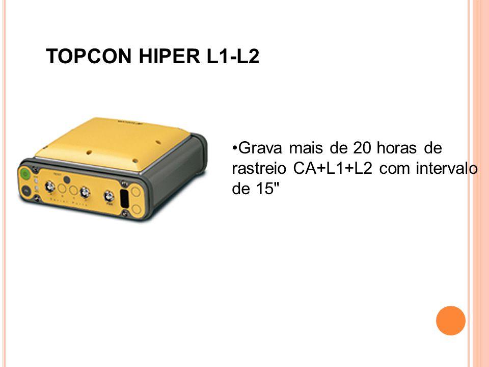 TOPCON HIPER L1-L2 Grava mais de 20 horas de rastreio CA+L1+L2 com intervalo de 15