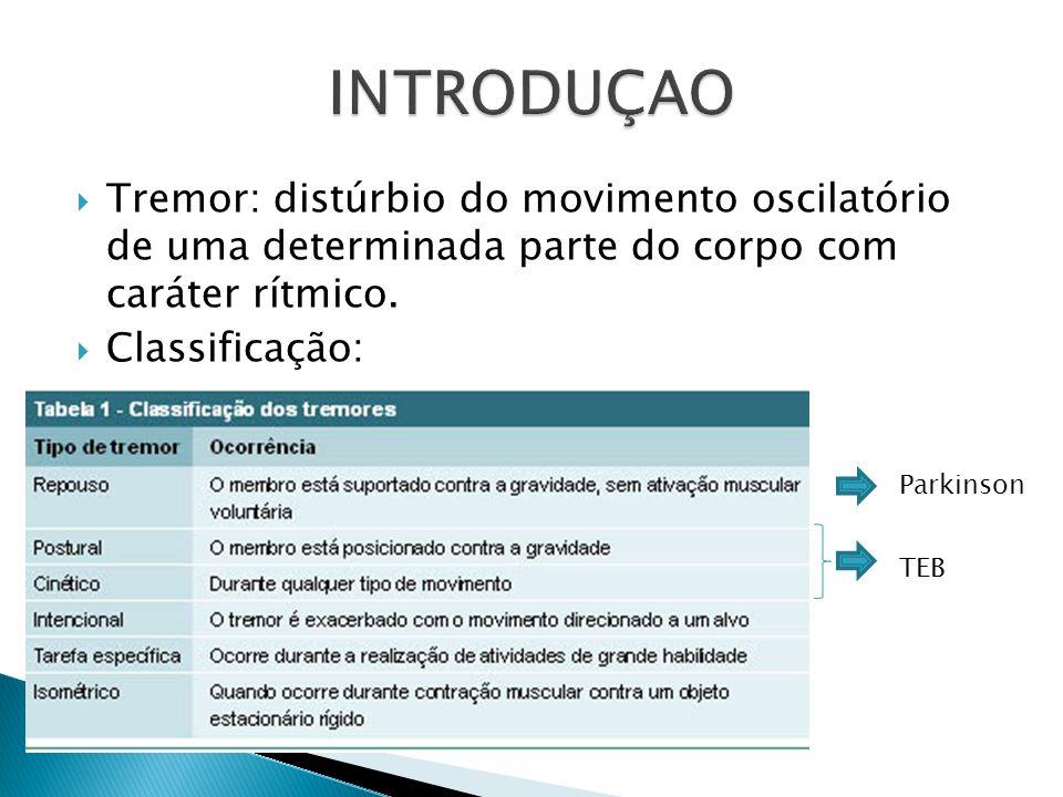 INTRODUÇAO Tremor: distúrbio do movimento oscilatório de uma determinada parte do corpo com caráter rítmico.