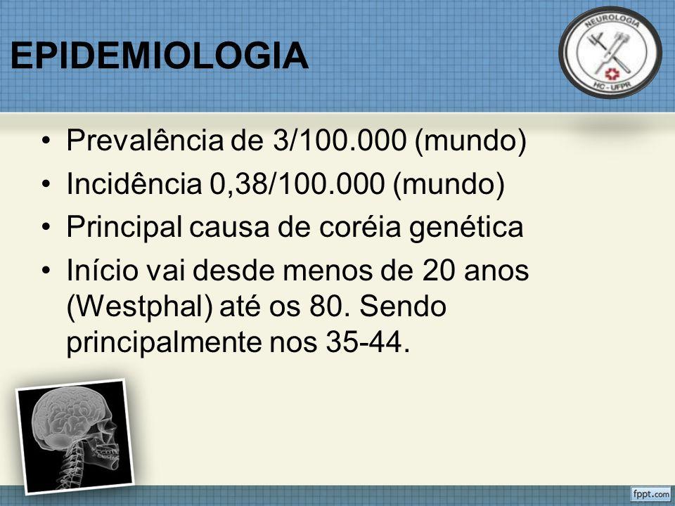 EPIDEMIOLOGIA Prevalência de 3/100.000 (mundo)
