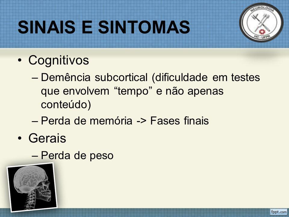 SINAIS E SINTOMAS Cognitivos Gerais