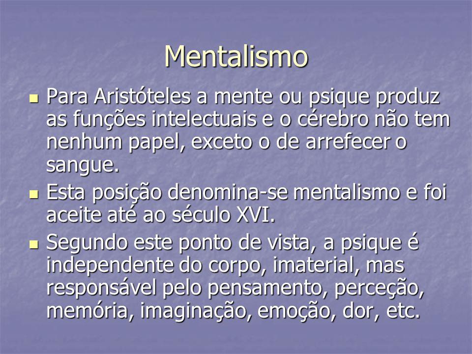 Mentalismo Para Aristóteles a mente ou psique produz as funções intelectuais e o cérebro não tem nenhum papel, exceto o de arrefecer o sangue.