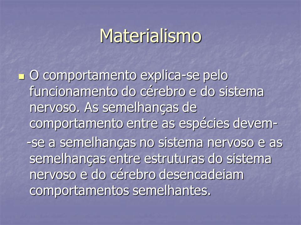 Materialismo O comportamento explica-se pelo funcionamento do cérebro e do sistema nervoso. As semelhanças de comportamento entre as espécies devem-