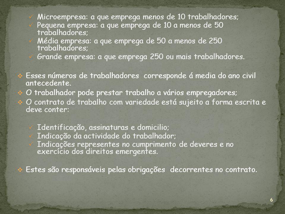 Microempresa: a que emprega menos de 10 trabalhadores;