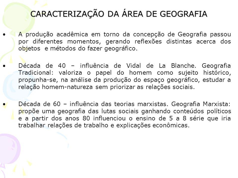 CARACTERIZAÇÃO DA ÁREA DE GEOGRAFIA