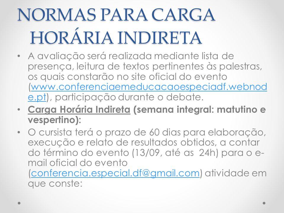 NORMAS PARA CARGA HORÁRIA INDIRETA