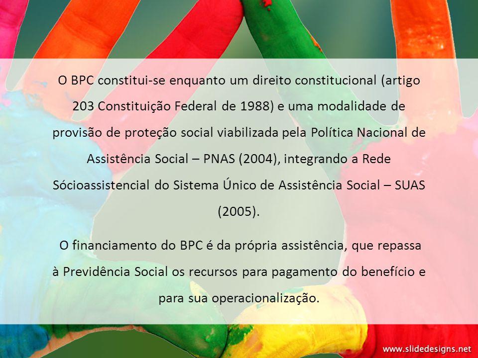 O BPC constitui-se enquanto um direito constitucional (artigo 203 Constituição Federal de 1988) e uma modalidade de provisão de proteção social viabilizada pela Política Nacional de Assistência Social – PNAS (2004), integrando a Rede Sócioassistencial do Sistema Único de Assistência Social – SUAS (2005).